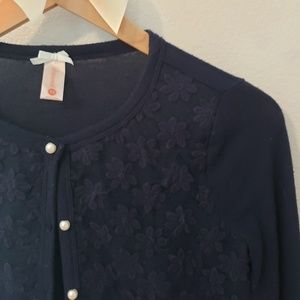DownEast Sweaters - DownEast Navg Blue Daisy Cardigan